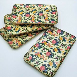 Other - Set of 4 Flowered Melamine Paper Mache Trays